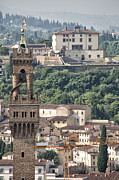 Destinations Digital Art Prints - Palazzo Vecchio Tower and Forte Belvedere Print by Melany Sarafis