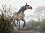 Wild Horse Digital Art Prints - Pale Horse in the Mist Print by Daniel Eskridge