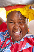 Laughing Photo Framed Prints - Palenquera in Cartagena Colombia Framed Print by David Smith