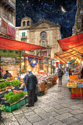 Old Street Metal Prints - Palermo Market Place Metal Print by Juli Scalzi