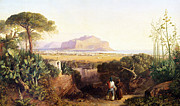 Italian Landscapes Paintings - Palermo Sicily by Edward Lear