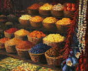 Asian Market Paintings - Palette of The Orient by Kiril Stanchev
