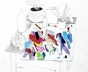 Studio Drawings - Palette on Table by Mark Lunde