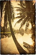 Asian Culture Posters - Palm and Boat Poster by Skip Nall