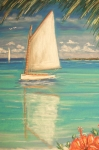 Gulf Pastels Posters - Palm Bay Poster by The Beach  Dreamer
