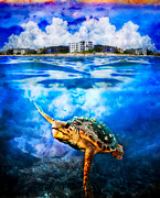 Palm Beach Under And Over Print by Debra and Dave Vanderlaan