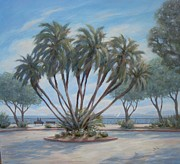 Oceanscape Paintings - Palm by C Street by Tina Obrien
