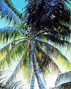Tropics Paintings - Palm in Bay Side Miami by Heather Calderon