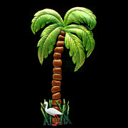 Tree Art Sculpture Posters - Palm Island Poster by Diane Snider