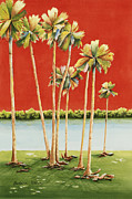 Watercolor Society Prints - Palm Octet Print by Barbara Totten