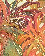 Fiber Art Posters - Palm Patterns 1 Poster by Deborah Younglao