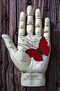 Wooden Hand Photos - Palm reading hand and butterfly by Garry Gay