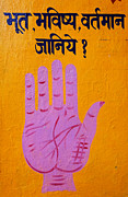 Palmistry Metal Prints - Palm reading sign in Rishikesh Metal Print by Robert Preston