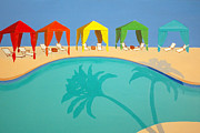 Karyn Robinson Metal Prints - Palm Shadow Cabanas Metal Print by Karyn Robinson