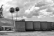 Midcentury Framed Prints - PALM SPRINGS CITY HALL BW Palm Springs Framed Print by William Dey