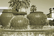 Sepia Toned Acrylic Prints - Palm Springs Fountain by Ben and Raisa Gertsberg