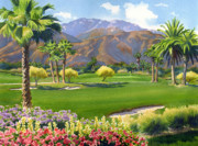 Sports  Posters - Palm Springs Golf Course with Mt San Jacinto Poster by Mary Helmreich