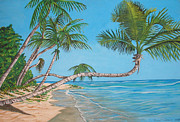 Puerto Rico Painting Metal Prints - Palm Tree Metal Print by Edward Maldonado