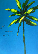 Yellow Leaves Painting Posters - Palm Tree Poster by Patricia Awapara