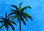Palm Trees At Miami Beach Print by Patricia Awapara