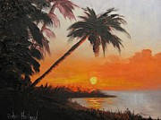 Barbara Haviland Framed Prints - Palm Trees at Sunset Framed Print by Barbara Haviland