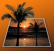 Sunset Seascape Mixed Media Posters - Palm Trees at Sunset Poster by Shane Bechler