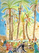 Jerusalem Painting Metal Prints - Palm Trees Jerusalem 2011 Metal Print by Chana Helen Rosenberg