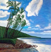 Lahaina Digital Art Prints - Palm Trees On Beach In Maui Print by Carlos Acosta