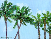 Bahamas Landscape Paintings - Palm Trees Sway by Shalece Elynne