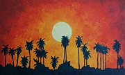 Grande Painting Framed Prints - Palm Trees with Setting Sun Framed Print by Lone Quixote