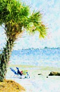 Chair Mixed Media Originals - Palm View by Florene Welebny