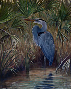 Great Blue Heron Paintings - Palmetto Cove by Cathy Turner