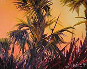 Julianne Felton Posters - Palmettos at Dusk Poster by Julianne Felton