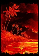 Shoreline Mixed Media Prints - Palms and Shoreline Print by Michael Vigliotti