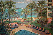 National Parks Paintings - Palms by the beach by Monica Caballero