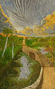 Pathway Paintings - Palms by the lake by Manuel Lopez