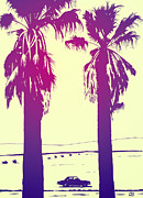 Los Angeles Drawings Metal Prints - Palms Metal Print by Giuseppe Cristiano