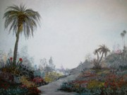 Garden Scene Originals - Palms in a garden by Rhonda Clapprood