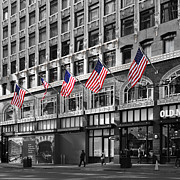 Storefront  Art - Palomar Hotel and Old Navy in Downtown San Francisco - 5D19799 - Black and White and Partial Color by Wingsdomain Art and Photography