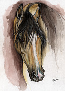 Horse Drawing Painting Prints - Palomino Arabian Horse Watercolor Portrait Print by Angel  Tarantella