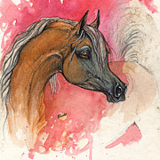 Drawing Painting Originals - Palomino Horse On Red Background 2013 11 15 by Angel  Tarantella