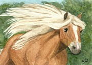 Mustang Paintings - Palomino - Running With the Wind by Sherry Goeben