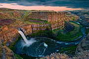 Rough Texture Framed Prints - Palouse Falls Sunset Framed Print by Dan Mihai