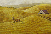 Old Barn Painting Posters - Palouse Farm Whitetail Deer Poster by Crista Forest