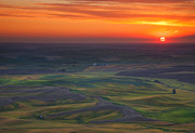 Hills Photo Framed Prints - Palouse Sunset Framed Print by Mike  Dawson