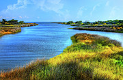 Creek Framed Prints Art - Pamlico Sound on Ocracoke Island Outer Banks by Dan Carmichael
