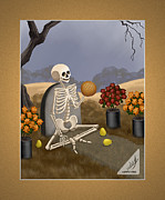 Graveyard Digital Art - Pan de Muerto Day of the Dead Skeleton by Annie Dunn