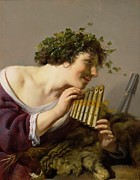Vines Paintings - Pan Playing his Pipes by Paulus Moreelse