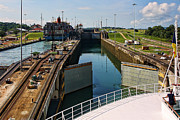 Brown Locks Framed Prints - Panama Canal Locks with Ships Framed Print by Linda Phelps