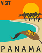 Paradise Digital Art Framed Prints - Panama Travel Poster Framed Print by Jazzberry Blue
